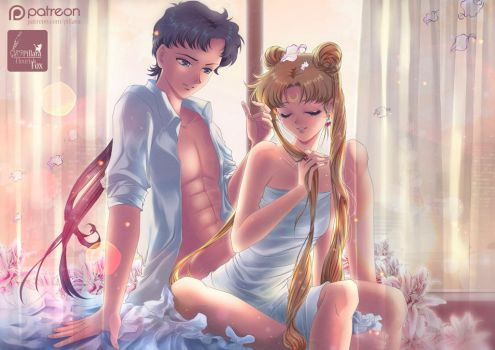 Romantic night Usagi and Seiya by Pillara