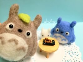 Totoro and Friends Needle Felt! by ochadrop
