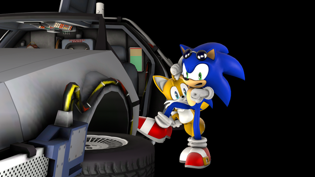 Sonic in Back To The Future by Pho3nixSFM