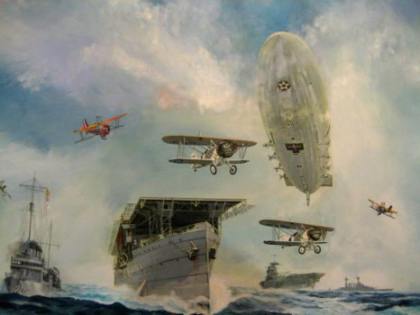 Painting: USS Macon over US fleet by FCARVALLO