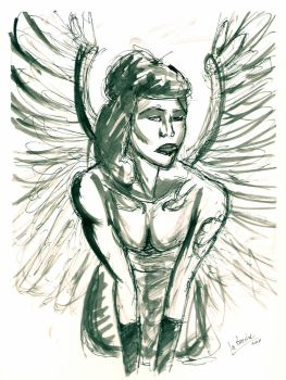 Ink Wash Angel by La-Breche