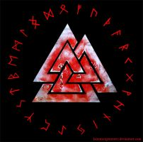 Valknut and Rune circle - red by KainMorgenmeer