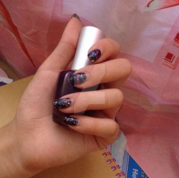 Galaxy? Nail art by neonpridelight