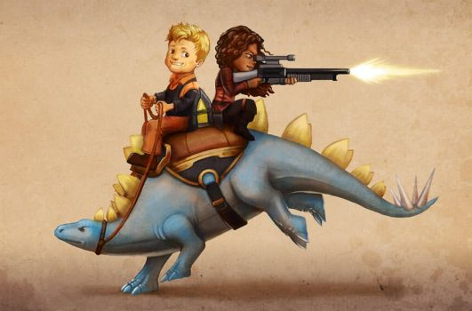 Firefly: Wash and Zoe on a Dinosaur by Risachantag