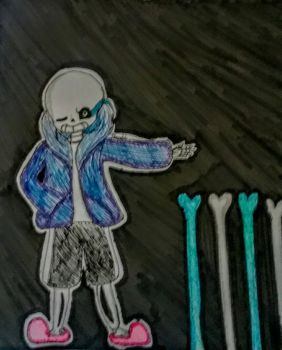 Bad Time Sans Drawing by MelodyFox36