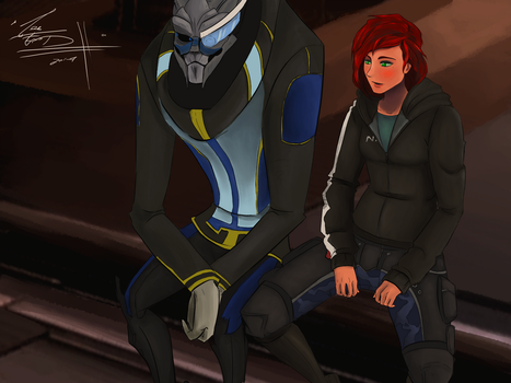 Garrus and Shepard by GregBubbles