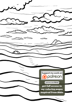 [007] Genesis 1:7 - coloring page - Bible by GhitaBArt