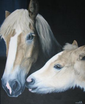 Haflinger mare and foal by estellea