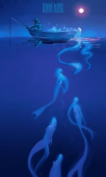Night Fishing - spitpaint by Kaizoku-hime