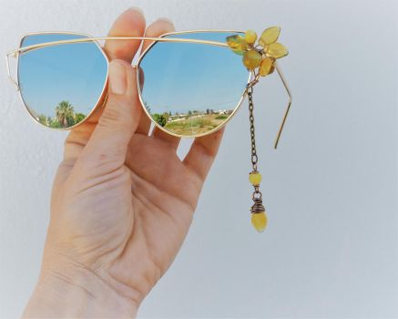 Decorated sunglasses with Olive green leaves by IanirasArtifacts