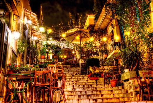 Plaka Athens by night by Piddling