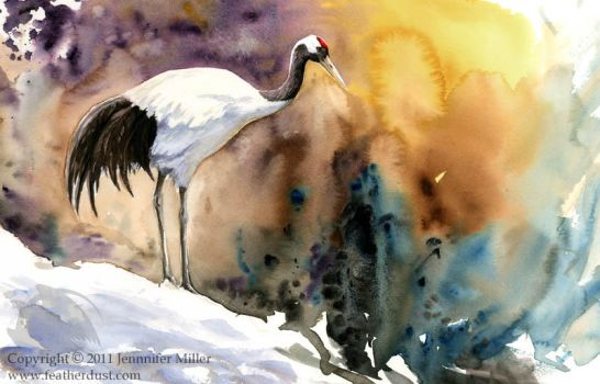 Red-Crowned Crane -- color -- by Nambroth