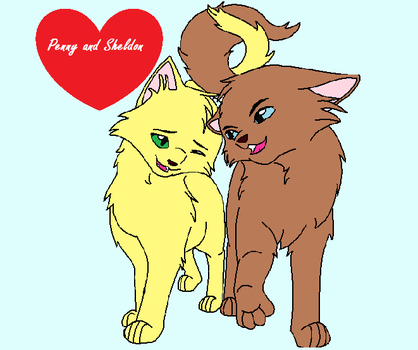 Penny and Sheldon as cats by SandStorm444