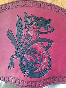 Red and Black Norse Wolf by AThousandRasps
