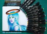 Blue angel marker drawing by EverbloomingForest