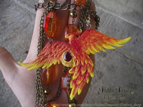 Phoenix Necklace OOAK 2 by HiddenTreasury