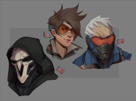 Overwatch Sketches by aquanoctis
