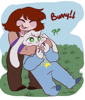 Chara don't hold bunnies like that by Channydraws
