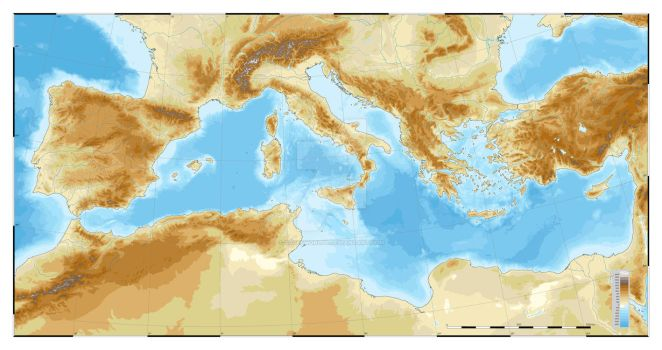 Mediterranean Topographic map. Colorblind friendly by SalesWorlds