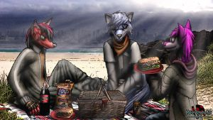 city's wet, so let's have a picnic! by MetaDragonArt
