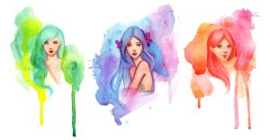 Watercolor Girls by gabbyd70