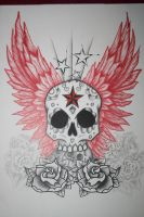 Skull And Wings Tattoo Design by itchysack