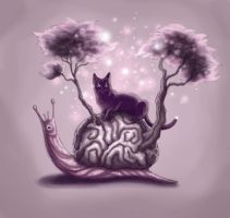 Brain Snail and Cat by TrollGirl