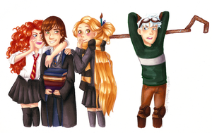 The Big Four in Hogwarts by Mogoliz