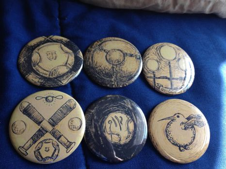Quidditch Buttons - Teehee for nerdiness! by WayInOverMyHead