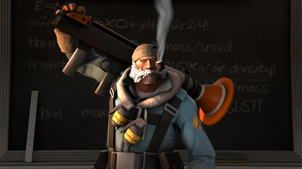 Self portrait of my Soldier loadout in TF2 by Robot11