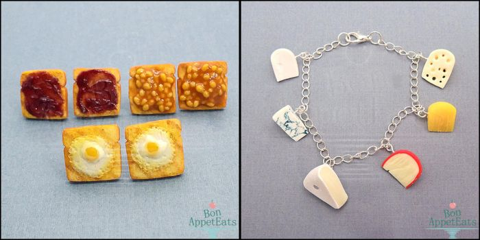 Toast Earrings and Cheese Charm Bracelet by Bon-AppetEats