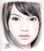 Repost: Color pencil portrait of Rainie Yang by chaseroflight