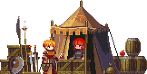 travelling merchant camp by iSohei