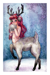Shy Reindeer Girl by willowdream