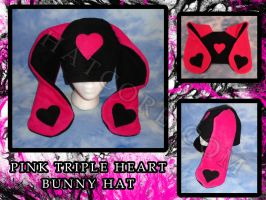 Pink Triple Heart Bunny Hat by HatcoreHats