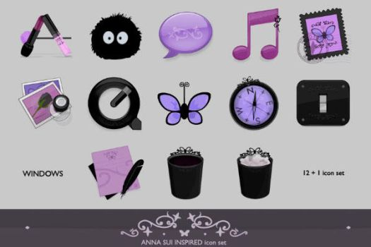 Anna Sui inspired icon set WIN by lilithsoul