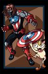 Winter Soldier vs. Meowth by AnutDraws