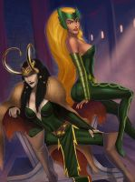 Lady Loki and Amora clothed by SunsetRiders7