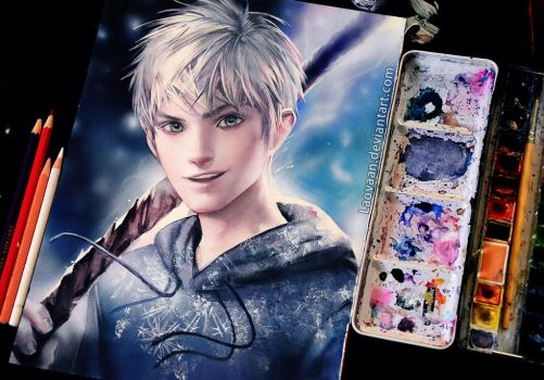 Jack Frost by Sakimichan in Watercolor + Video by Laovaan