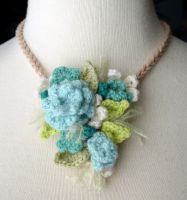 Crochet Turquoise necklace 2 by meekssandygirl