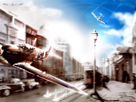 WINGS-dog fight over London by Deltafreelancer