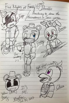 FNAF 1 characters in Sonic style doodles by KurobaFox1412