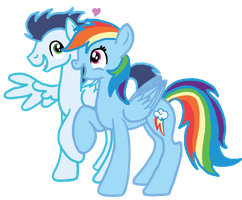 Soarin' and Dashie by InkRose98