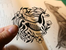 Tiny Unicorn Skeleton PAPER CUTTING by Snowboardleopard