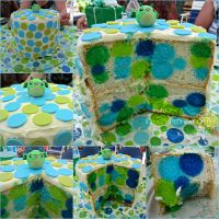 Polka Dot Baby Shower Cake (Link to Blog Added!) by CrazedByCalliope