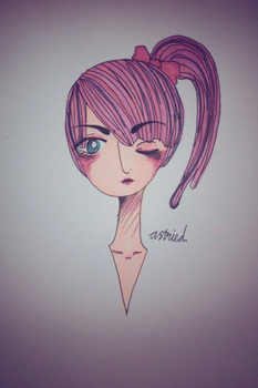 pink haired girl by azztried