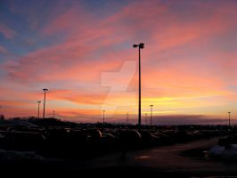 Parking Lot Sunset by out-on-a-limb