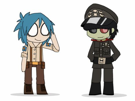 2D and Murdoc by TinyToxicWaste101