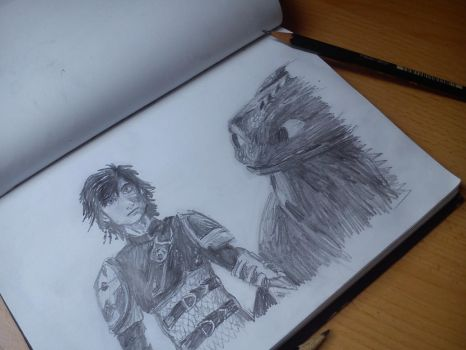Hiccup and Toothless 10 min sketch by Akeliet