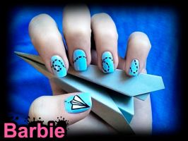 Paper Airplane Nails by BarbieNailArt